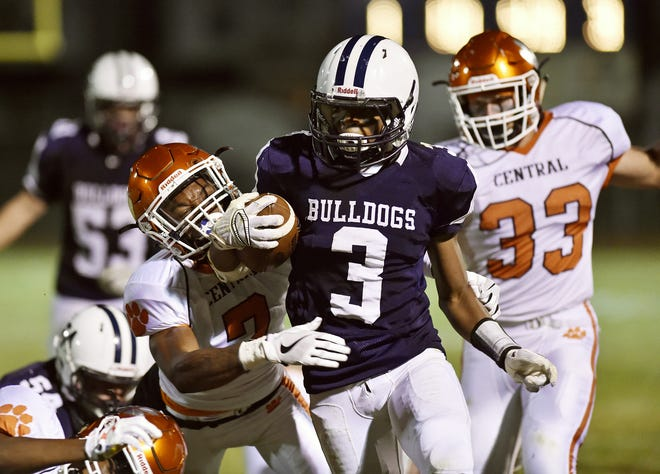 West York's Ay'Jaun Marshall carries against Central York in the second half of a YAIAA football game Friday, Sept. 1, 2017, at West York. Central York defeated West York 28-13 in the first high school football game of the YAIAA season.