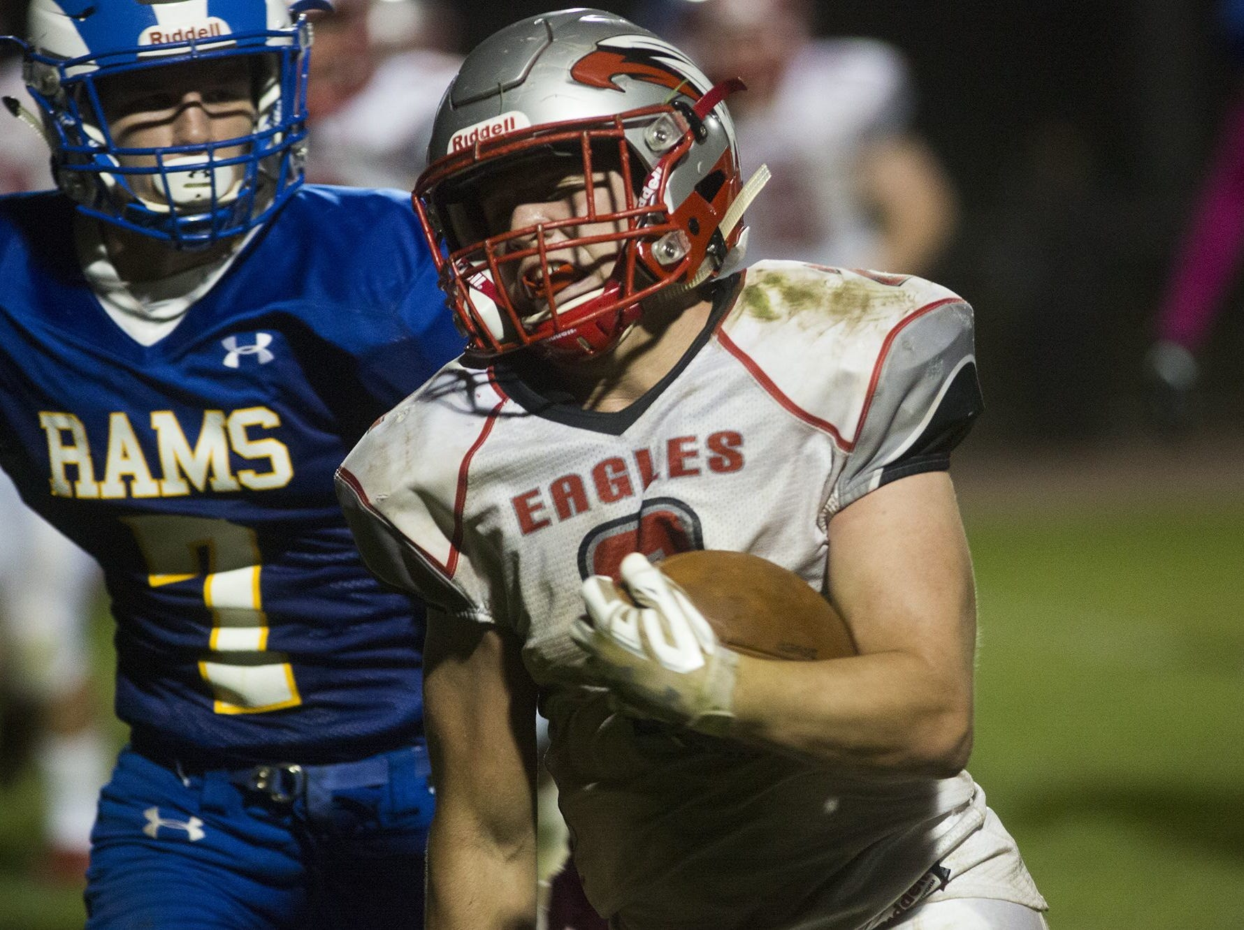 Dover's Brandon Lawyer rushed for 96 yards and a touchdown on 14 carries. Dover's Brandon Lawyer runs with the ball. Kennard-Dale plays Dover in football at Kennard-Dale High School in Fawn Grove, Friday, October 6, 2017.