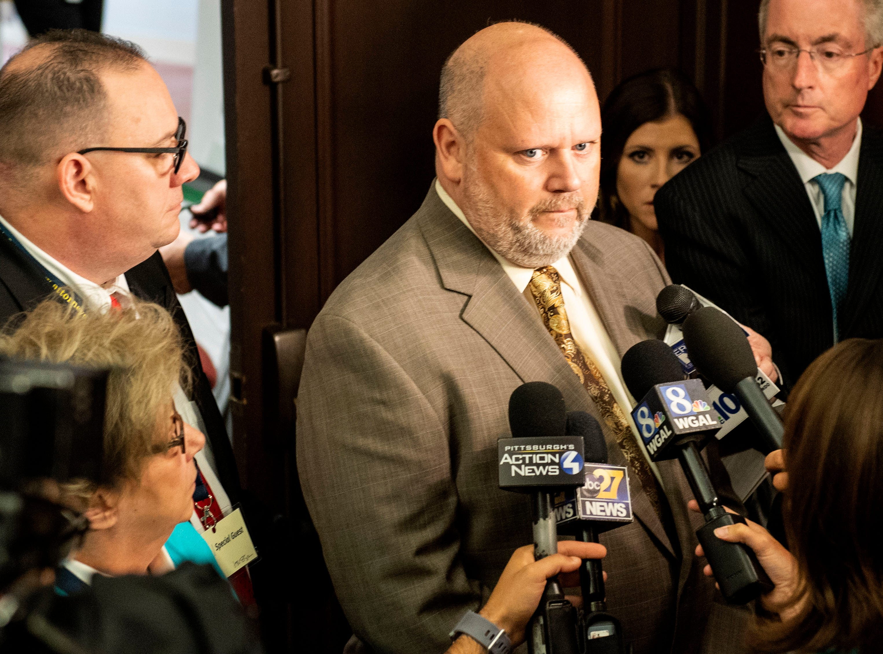 Survivor James Faluszczuk, who was abused by a priest in the Erie diocese, speaks with media the press conference on Tuesday, August 14, 2018. Attorney General Josh Shapiro outlined the findings of the grand jury investigation into six catholic diocese in Pennsylvania. The grand jury's report detailed child sexual abuse and coverup by more than 300 clergy.