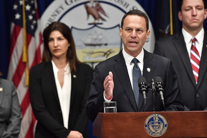 Pennsylvania Attorney General Josh Shapiro talks about a statewide grand jury report on Catholic clergy abuse in six dioceses on Tuesday, encompassing 301 accused priests and more than 1,000 victims.