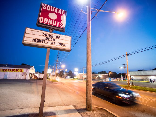 Square Donuts, 1241 NW Fifth St., Richmond, sits closed during normal business hours on the night of Monday, Aug. 13, 2018.
