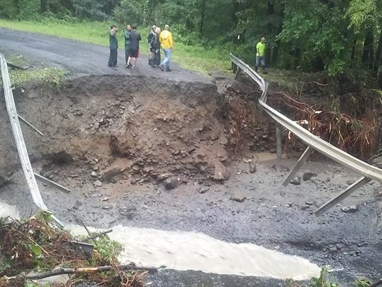 Cats Elbow Bridge on Seneca Road has been washed out due to heavy rain and flooding in Seneca County on Aug. 14, 2018.