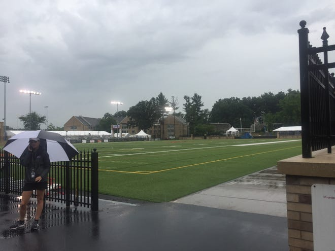 The lights were on but nobody was home at St. John Fisher College Tuesday morning as scattered thunderstorms forced Bills to work inside. They will practice outdoors at 4 p.m. when weather is expected to get better with only a 15 percent chance of rain.