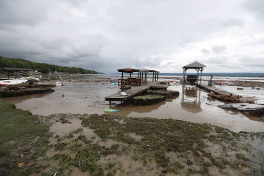 Flooding at Lodi Point, NY eroded the beach and destroyed property after heavy rain in the southern portion of Seneca County on Tuesday, August 14, 2018.