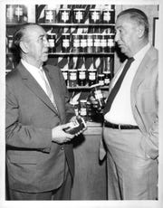 Albert Forman, left, then president of L.C. Forman & Sons, confers with  brother Wilbur at the Pittsford plant.