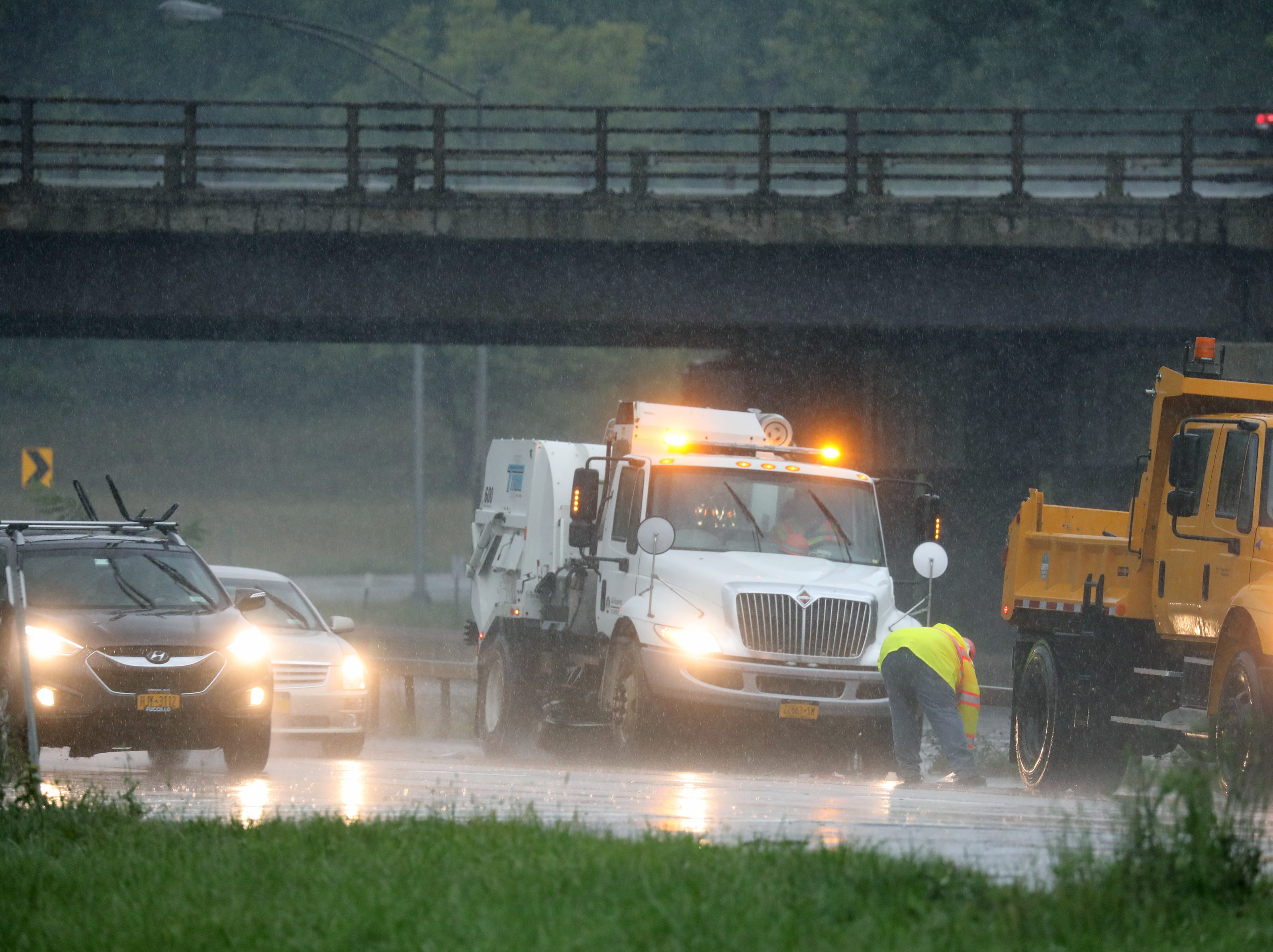 Crews clear the road onI-490 Eastbound at the Pittsford exit.