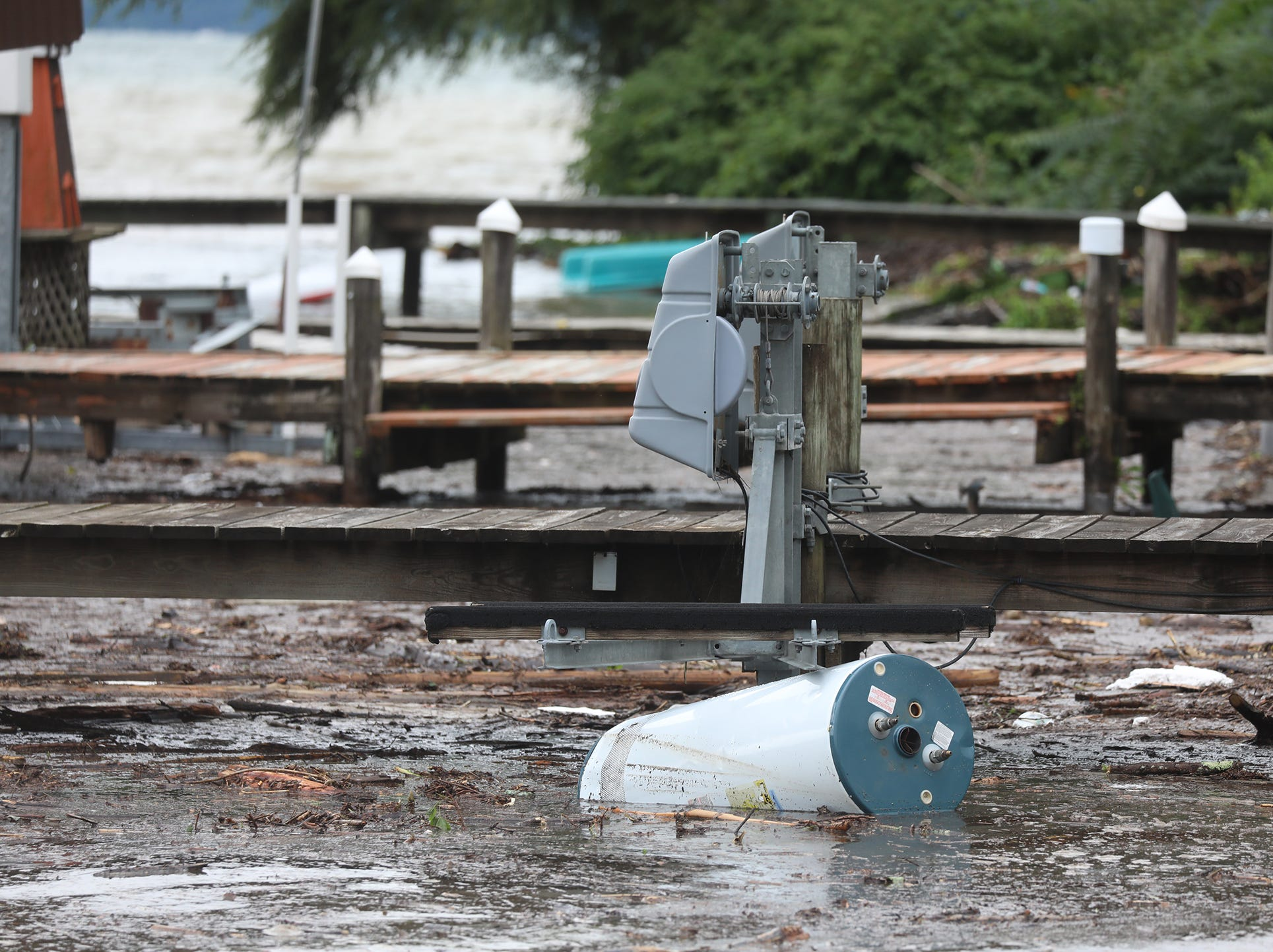 A hot water tank was washed into Seneca Lake after heavy rain caused flooding and washing away at Lodi Point, New York on Tuesday, August 14, 2018.