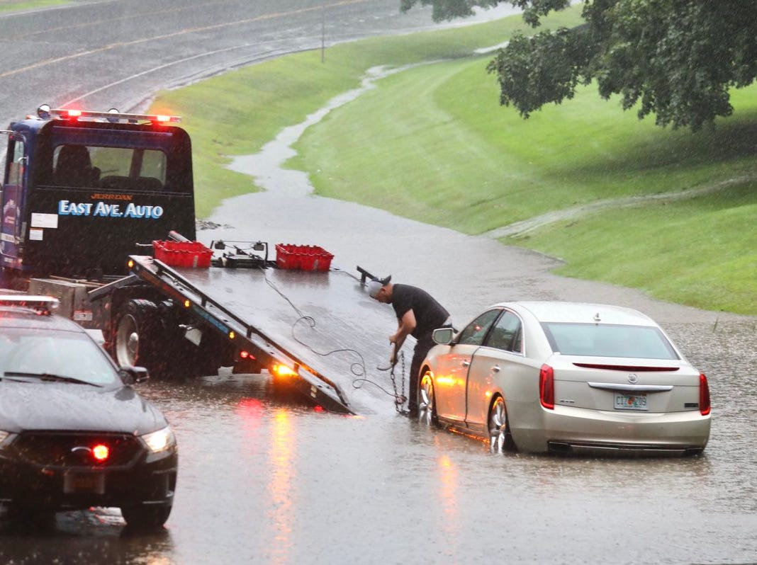 Flooding in the Rochester area on Garnsey Road at 490 East underpasses.