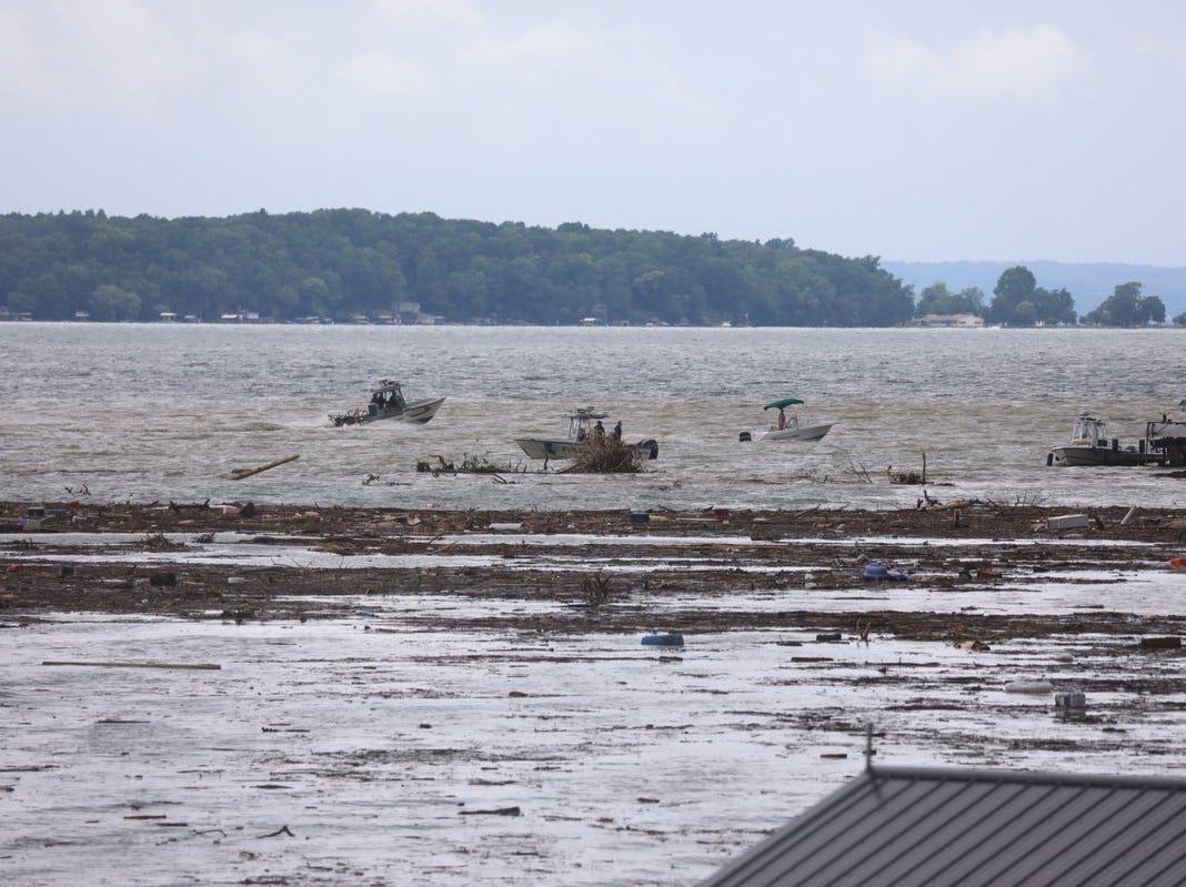 Evacuation efforts are going on along Seneca Lake Lodi area