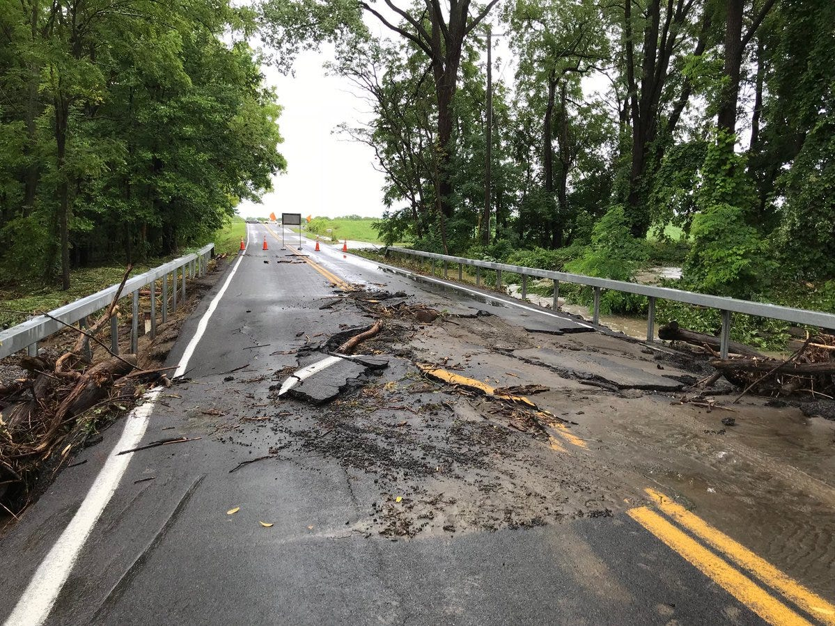 This road on the bridge is mangled.