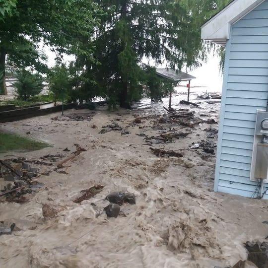 Flooding on the shore of Seneca Lake near the Seneca-Schuyler county line.