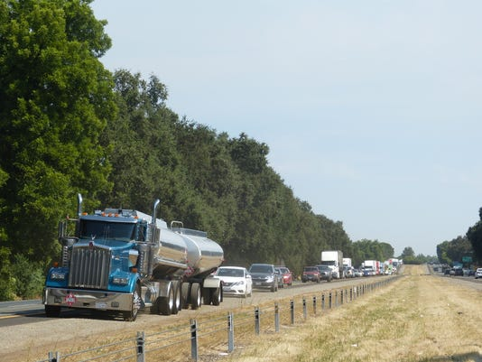 Northbound backup along I-5 after tree fell along the road.