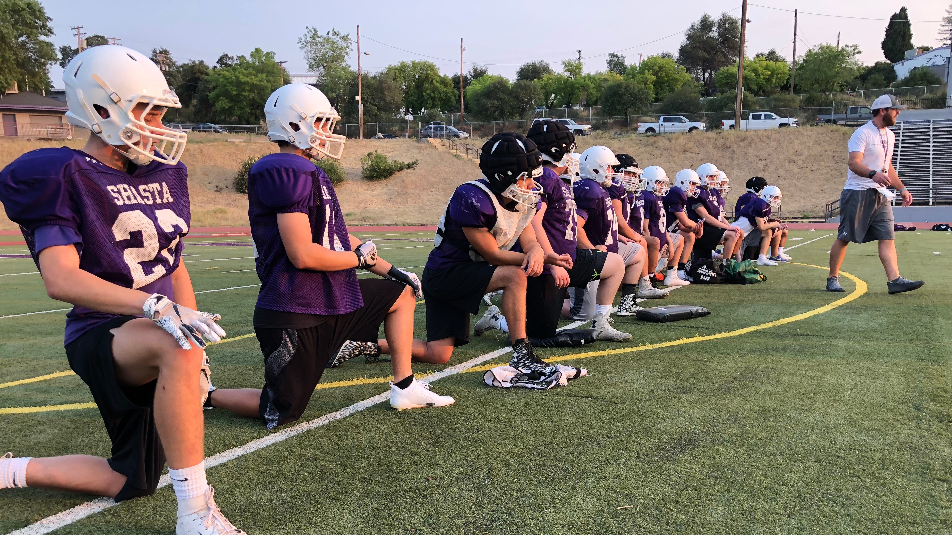 The Shasta High Wolves varsity football team practices outdoors for the first time this fall on Monday, Aug. 13.