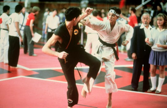 "Ralph Macchio in a scene from the 1984 motion picture ""The Karate Kid."""