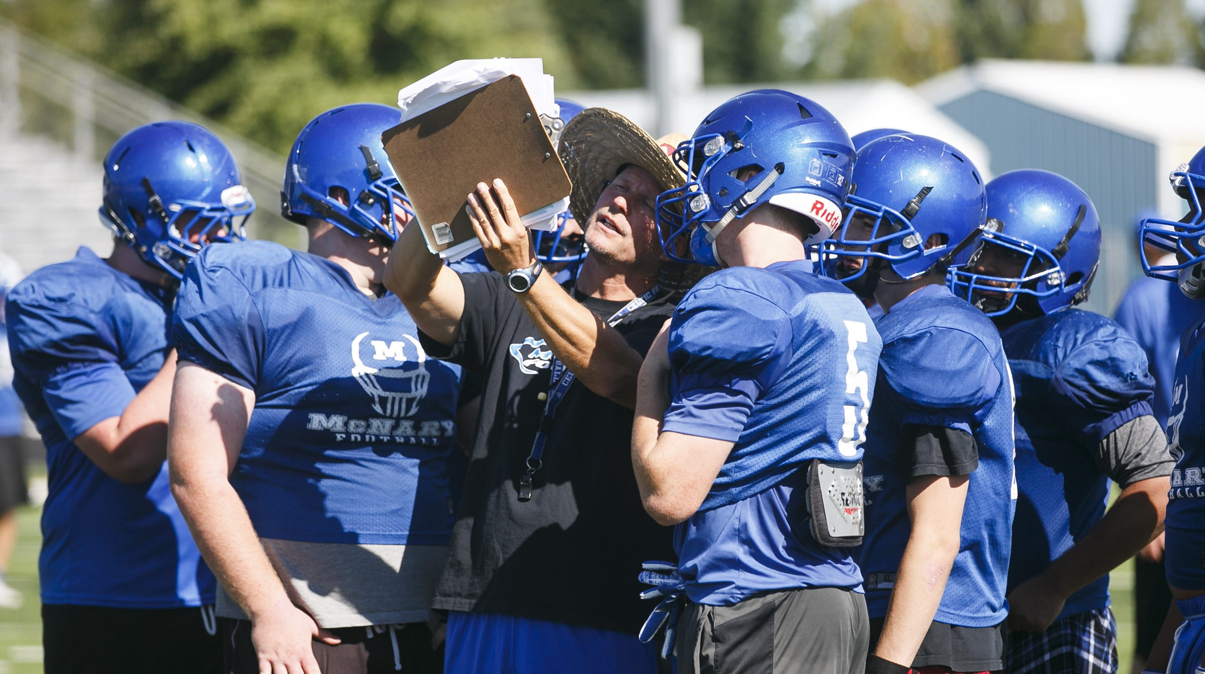 McNary head coach Jeff Auvinen huddles with offense line players at a football practice last year.