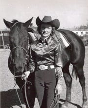 Billie McBride poses with her horse, Zombie. McBride and Zombie have each been inducted into the Texas Rodeo Hall of Fame. McBride was also recently inducted into the ProRodeo Hall of Fame.