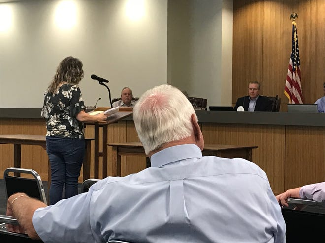 Lynette Lucas speaks to the Tom Green County Commissioners Court during a tax increase hearing on Tuesday, Aug. 14, in San Angelo.