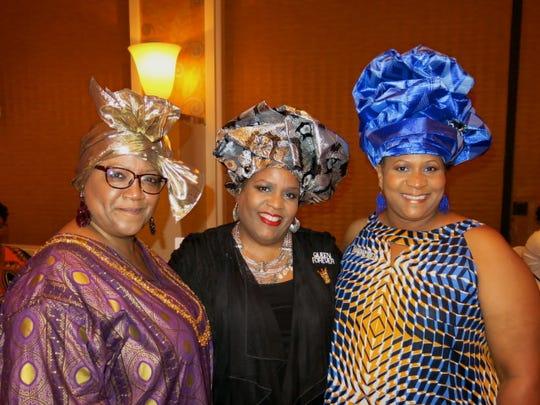Lisa Jackson, Debra Bradley, Rosalind Blackshsire were among women wearing elaborate hats at Krewe Harambee Royalty Coronation.