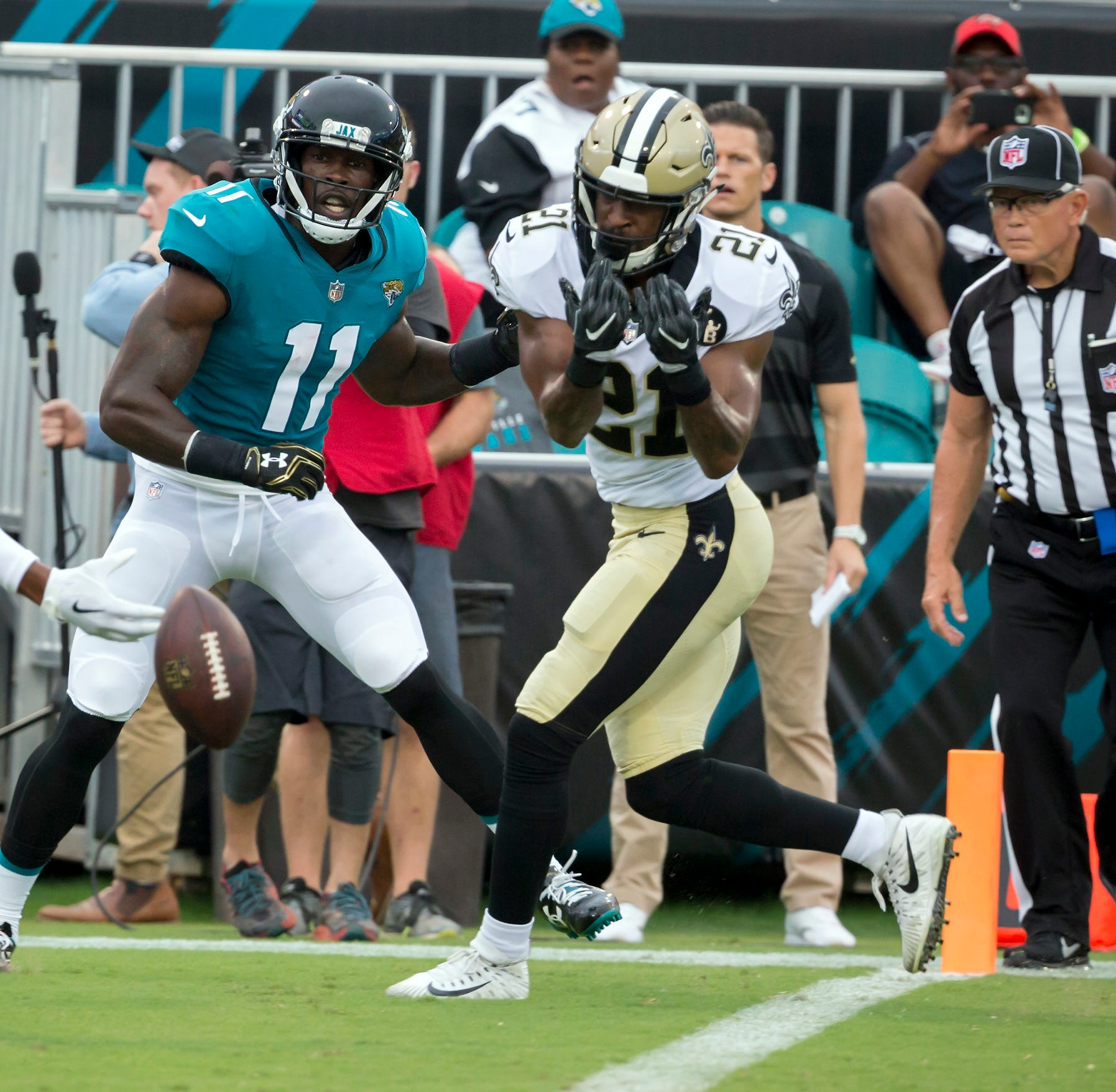 New Orleans Saints defensive back Patrick Robinson (21) breaks up a pass intended for Jacksonville Jaguars wide receiver Marqise Lee (11) in the end zone during last week's preseason game.