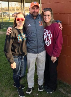 Blanchard's Kaitlyn Williams, left, with Northwood coach Greg Swearengin and former player Kendall Smith, was recently hired as an assistant softball coach at Northwood.