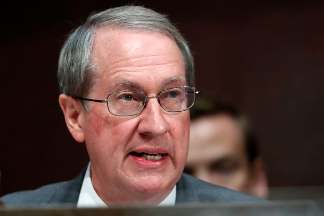 "FILE - In this Tuesday, June 19, 2018, file photo, Rep. Bob Goodlatte, R-Va., chair of the House Committee on the Judiciary, speaks during a joint House Committee hearing in Washington. Goodlatte's son, Bobby Goodlatte, has lambasted his father on Twitter for ""ruining"" the career of a recently fired FBI agent."