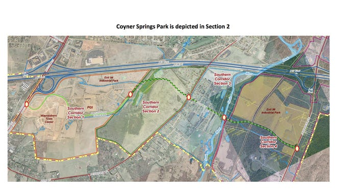 Proposed path for the Waynesboro Southern Corridor project.