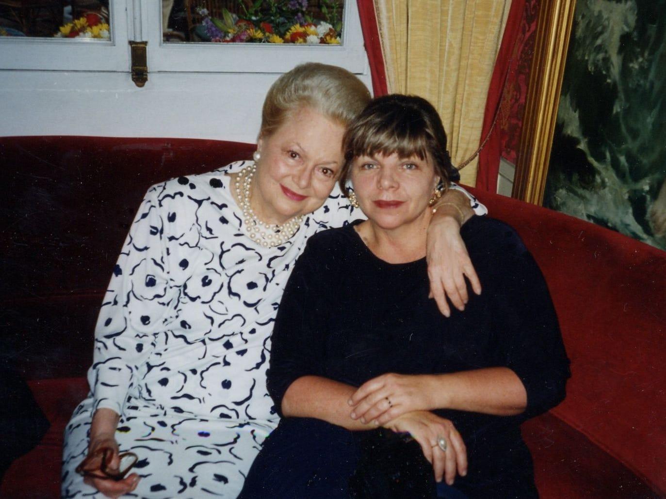 Deborah Potter, right, sits with aunt Olivia de Havilland in Paris in 1996.