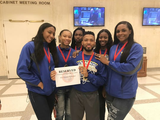 The TCC women's basketball team was honored by Gov. Rick Scott at the Capitol on Aug. 14, 2018 after winning the national championship. From left to right: Jada Perry, Victoria Pearce, Juliunn Redmond, Franqua Bedell, Aliyah Lawson and Jamyra McChristine.