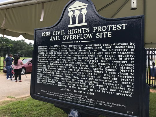 This marker was unveiled on Aug. 14, 2018 to designate the use of the North Florida Fairgrounds as an overflow site to house FAMU students arrested in 1963 for protesting segregated businesses downtown.
