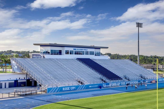 An interior look at IMG Academy's multipurpose stadium.