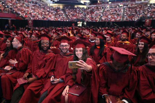 File photo of Florida State University graduation before COVID-19 protocols.
