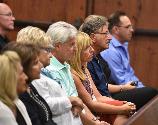Family members of Victor Brancaccio listen to comments from Circuit Judge Gary Sweet during a status hearing on Tuesday, August 14, 2018, at the St. Lucie County Courthouse in Fort Pierce.