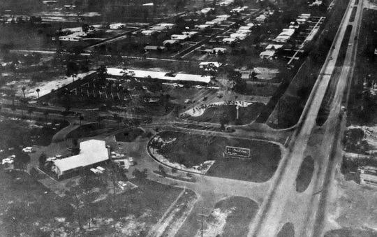 The corner of U.S. 1 and Prima Vista Boulevard in 1961 with General Development Corp.'s headquarters below left.