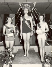 Sandra Etters, from left, 1953 Hibiscus Festival Queen Elizabeth Graves, and Ernestine Tully.