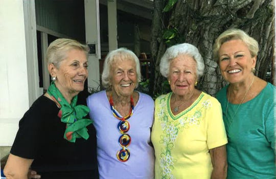 Treasure Coast Questers Chapter No. 1152 officers are, from left, Simone D'Addario, treasurer; Lucille Rights, secretary;  Mary Harrell, vice president; and Peggy Bach Thompson, president.