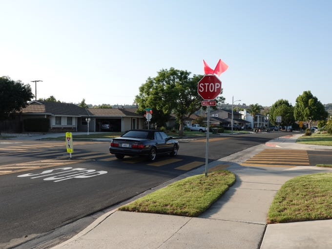 After decades of requests from residents of a Camarillo neighborhood, the city recently installed four-way stop signs at Lantana and Coe streets after an SUV crashed into a house on Father's Day.