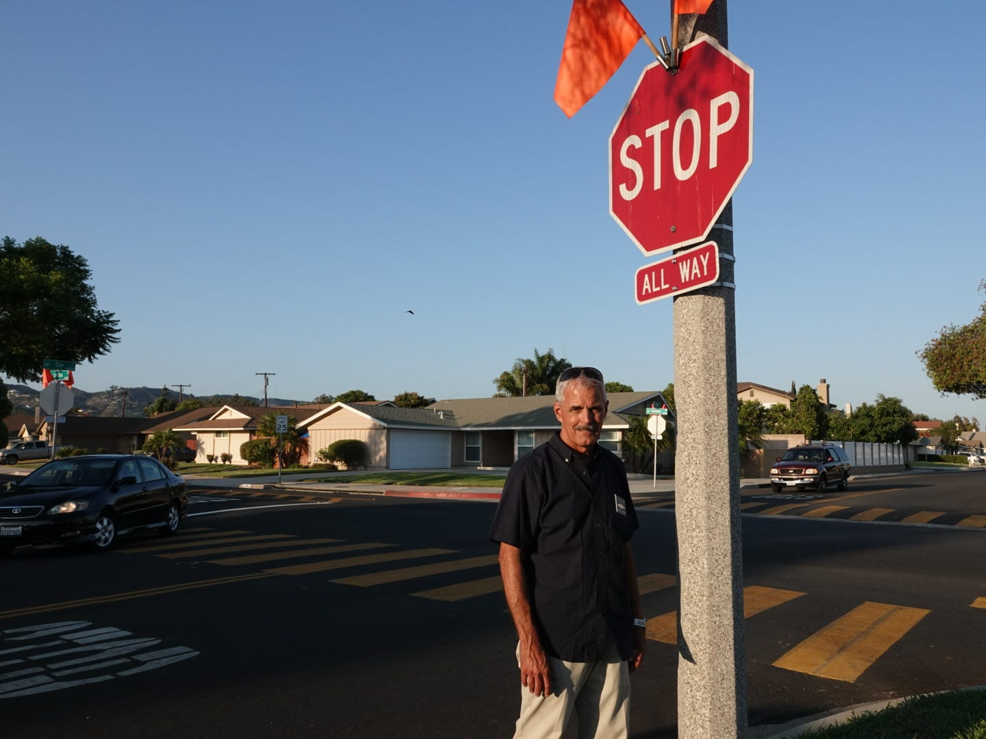 Since 1983, Camarillo resident Dennis Fandey has been asking for a four-way stop sign at Lantana and Coe streets. The city recently installed the signs after an SUV crashed into Fandey's house on Father's Day.