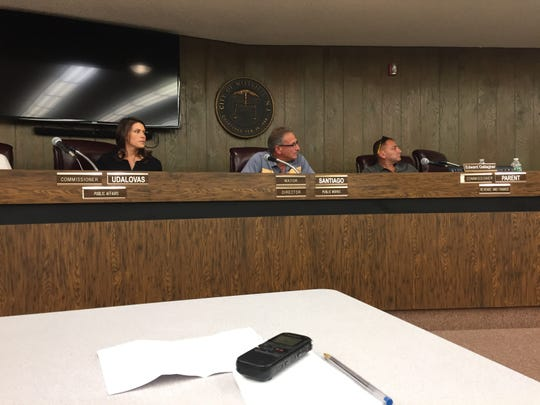 The Millville Planning Board agenda on Monday night included an informal review of a proposal to grow medical grade marijuana at a building at 1301 N. 10th St. Left-right: City Commissioner Ashleigh Udalovas, board Chair Robert Gallaher, and member Edward Gallagher.