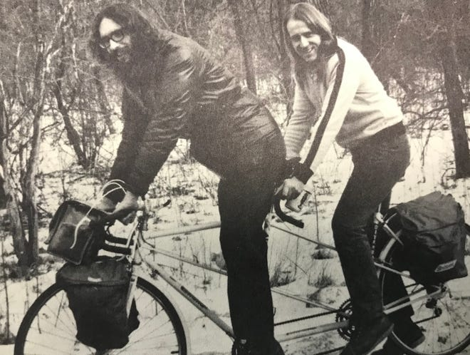 "Doug Shidell and Philip Van Valkenberg, circa 1975, from a photo on the inside of the back cover of ""Bicycle Escape Routes."""