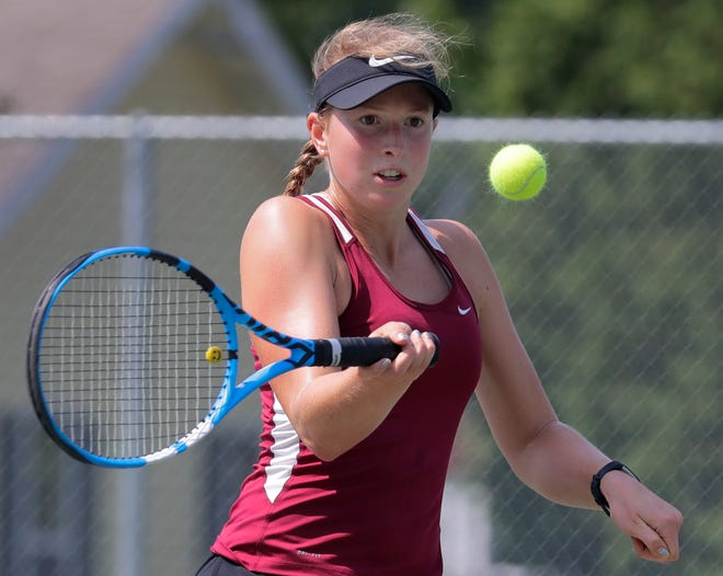 Fond du Lac's Kellie Hierl competes in a singles match during the Neenah girls tennis invitational Tuesday in Neenah.