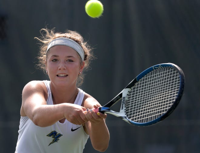 Appleton North's Taylor Tomoda competes in a doubles match during the Neenah girls tennis invitational on Tuesday in Neenah.