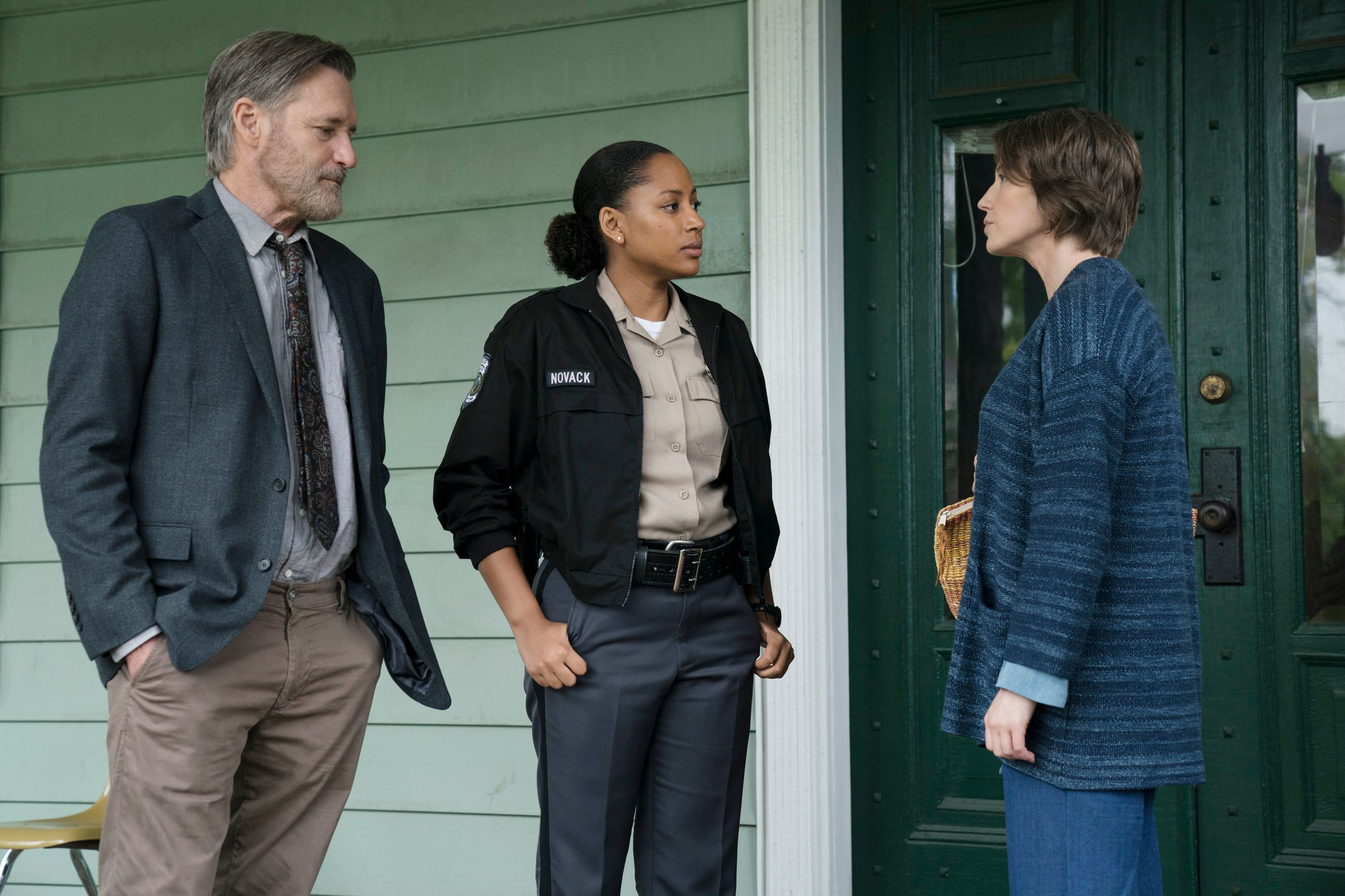 "Bill Pullman as Detective Lt. Harry Ambrose, Natalie Paul as Heather and Carrie Coon as Vera Walker on ""The Sinner"" Season 2."