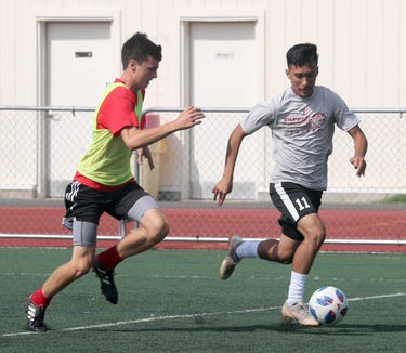 Tappan Zee High School senior Jorge Umana controls the ball during practice Aug. 14, 2018. After playing for the U.S. Soccer Development Academy last year, Umana has returned to playing for Tappan Zee.
