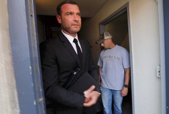 Liev Schreiber leaves Nyack village court after appearing on a harassment charge Aug. 14, 2018.