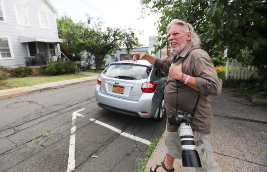 Sherwood Martinelli, 62, walks across Lydecker St. in Nyack on Tuesday, August 14, 2018, where he claims he was attacked by actor Liev Schreiber on June 7th.