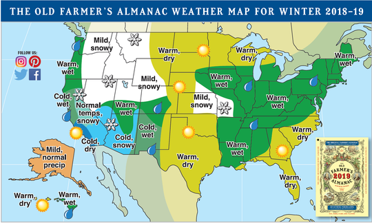 The Old Farmer's Almanac, a favorite but not always accurate predictor of weather, is calling for a warm and wet winter in the region.