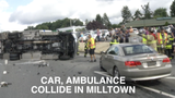 A car and an ambulance collided this morning at the intersection of Kirkwood Highway and Limestone Rd. in Milltown.  8/14/18