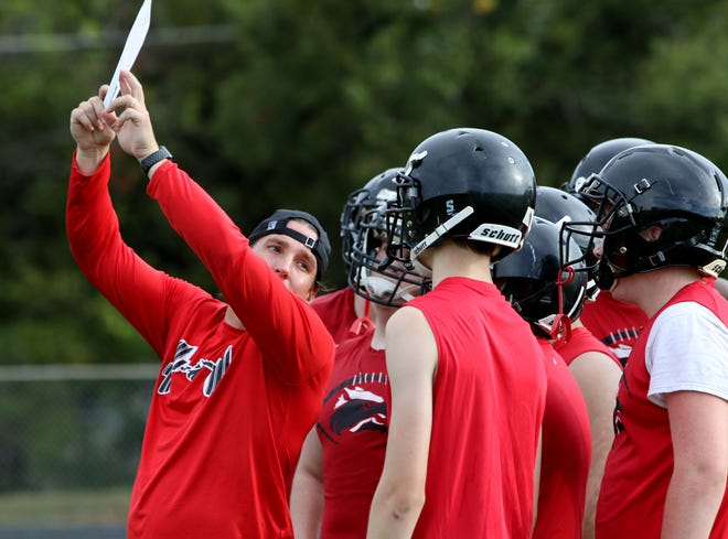 Wichita Falls High School football players look to their coach for the offensive play on the first day of two-a-day practices Monday, Aug. 13, 2018, at the Wichita Falls High School football field.