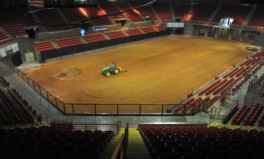 Ag Facilities Manager, Tim Shafer works to prepare the dirt floor in the Kay Yeager Coliseum for the Texas Ranch Roundup, Tuesday morning. The Ranch Round begins August 17.