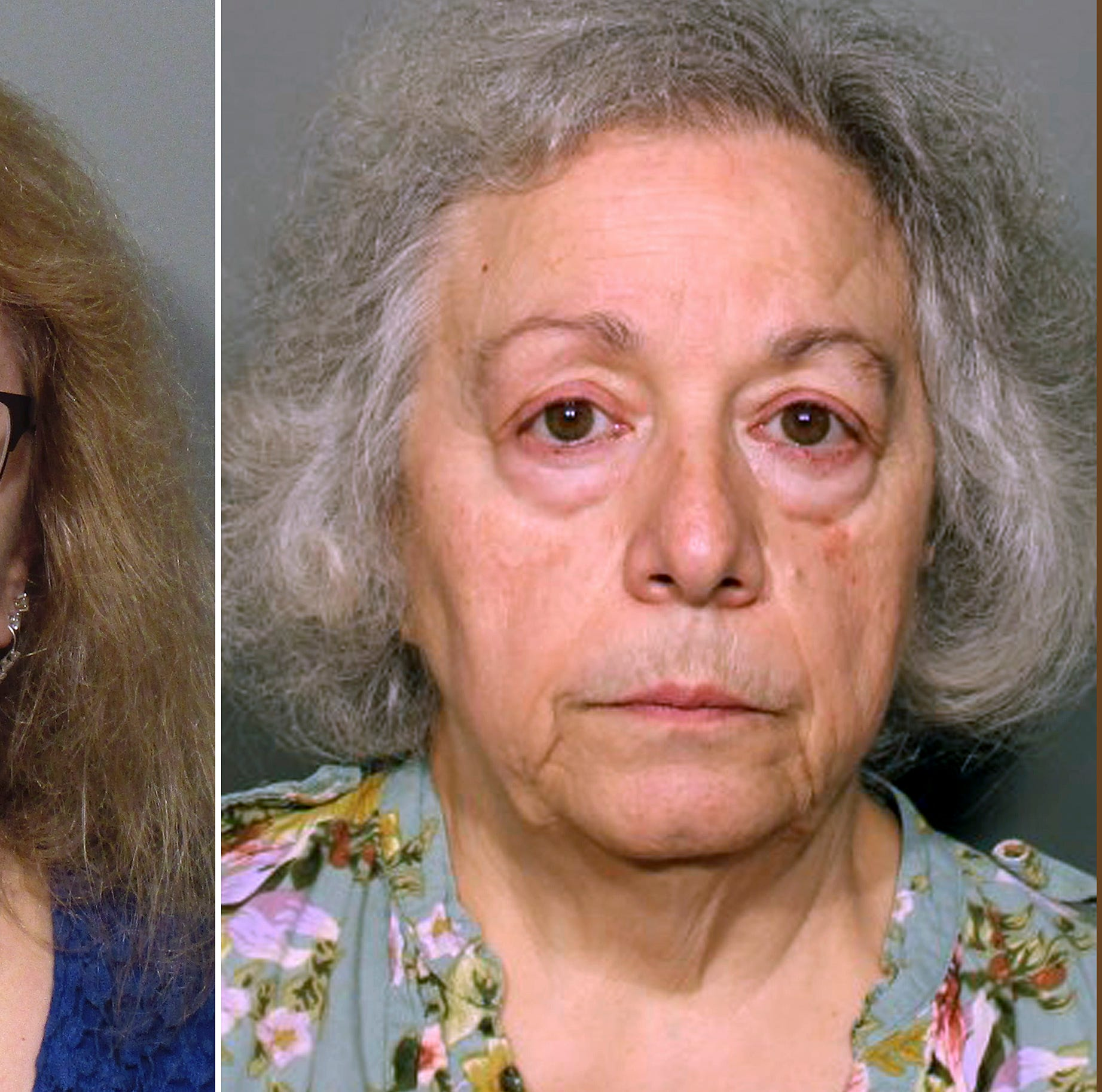 "This pair of photos released Monday, Aug. 13, 2018, by the New Canaan Police Department show Joanne Pascarelli, left, of Stratford, Conn., and her sister Marie Wilson, right, of Wilton, Conn., former cafeteria workers charged with stealing nearly a half-million dollars from New Canaan, Conn., schools over the last five years. An attorney for Wilson says she is innocent and is ""not going to be scapegoated."" (New Canaan Police Department via AP) ORG XMIT: BX101"